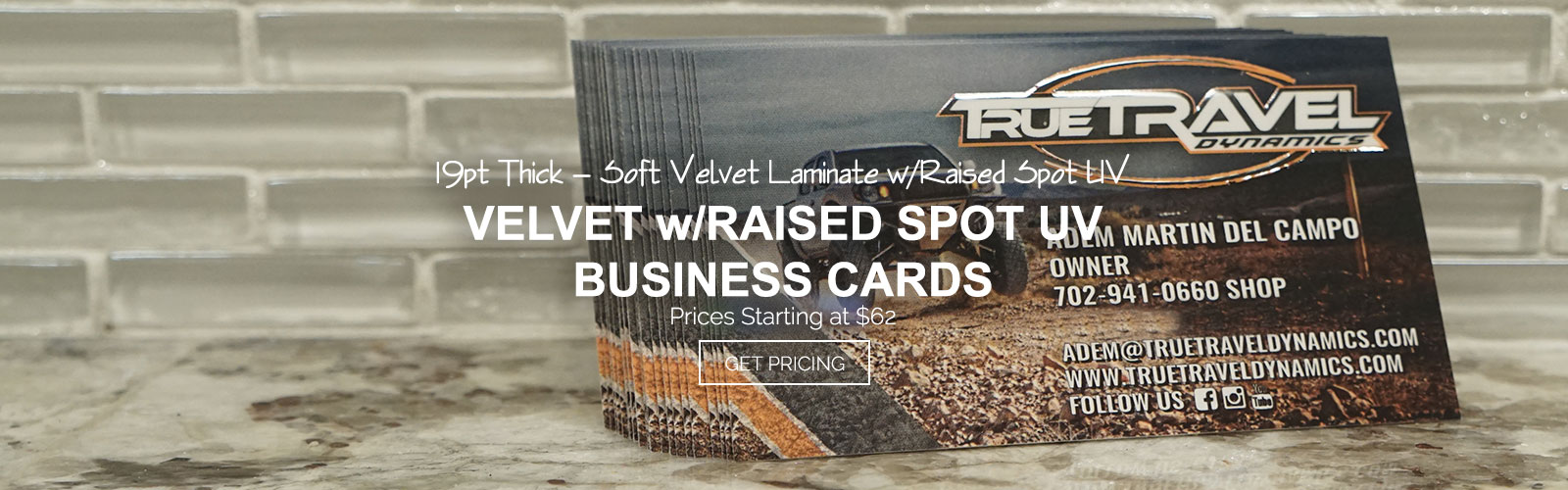 Velvet w/ Raised Spot UV Business Cards